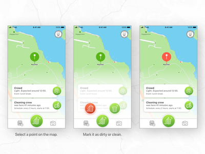 Social app for a cleaner city. density crowd dirty cleaning crew city park clean social app
