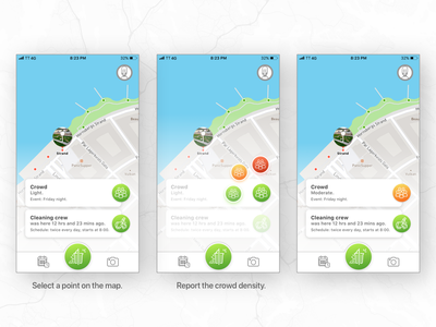 Social app for a cleaner city. mark report density crowd dirty cleaning crew city park clean social app