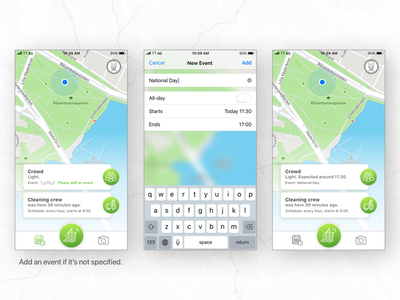 Social app for a cleaner city. event report mark density crowd dirty cleaning crew city park clean social app