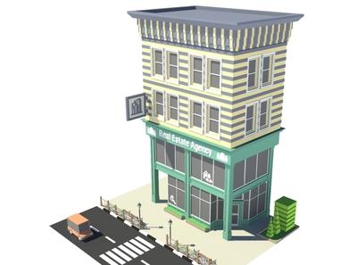 Real Estate Agency 3d model 3dmodeling facade real estate agency cartoon design exterior building office store shop market 3d art 3d maya lowpoly isometric environment 3dmodel