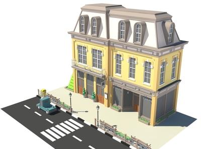 Two Shops illustration render car cartoon facade design 3d model exterior building store shop market 3d art 3d maya lowpoly isometric environment 3dmodel