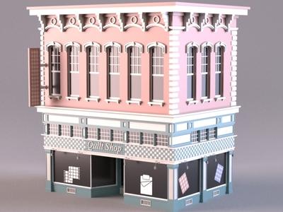 Quilt Shop render 3d modeling cartoon facade design 3d model exterior building store shop market 3d art 3d maya lowpoly isometric environment 3dmodel