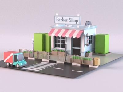 Barber Shop render cartoon design exterior building store shop market 3d art 3d maya lowpoly isometric environment 3dmodel 3d model