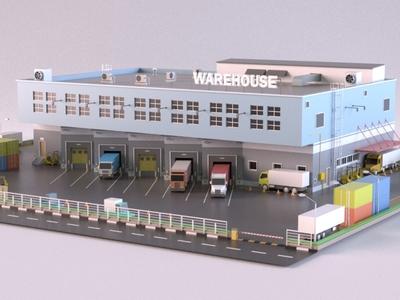 Warehouse design render car cartoon warehouse exterior building store shop market 3d art 3d maya lowpoly isometric environment 3dmodel