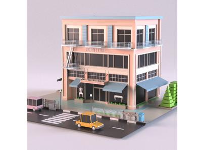 Furniture Store furniture render car cartoon design 3d model exterior building store shop market 3d art 3d maya lowpoly isometric environment 3dmodel
