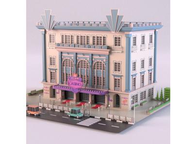 Casino 3d modeling render car cartoon design 3d model exterior classic building store shop market 3d art 3d maya lowpoly isometric environment 3dmodel