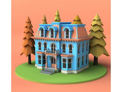 House design 3d model render tree cartoon exterior home house building store shop market lowpoly isometric environment 3d art 3d maya 3dmodel