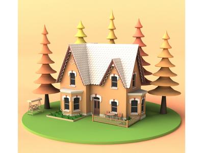 House 3dmodeling cartoon design render illustration tree exterior home house building store shop market lowpoly isometric environment 3d art 3d maya 3dmodel