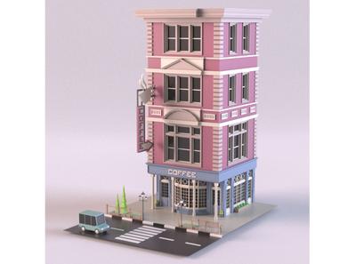 Coffee shop tree render coffeeshop cafe car cartoon design 3d model exterior building store shop market lowpoly isometric environment 3d art 3d maya 3dmodel