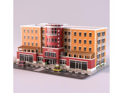 Hotel facade illustration render design cartoon 3d model exterior building store lowpoly shop market isometric environment 3d art 3d maya 3dmodel