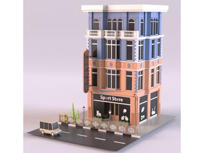 Sport Store tree illustration render car cartoon design 3d model exterior building store shop market lowpoly isometric environment 3d art 3d maya 3dmodel