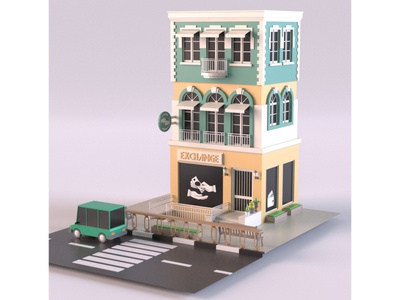 Currency Exchange illustration facade render car cartoon design exterior building shop market store lowpoly isometric environment 3d art 3d maya 3dmodel