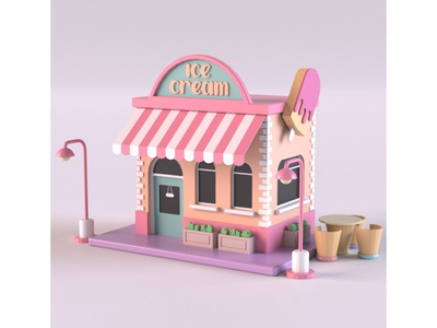 Ice Cream Stand ice cream ice cream shop illustration render 3d model cartoon design exterior building shop market store isometric environment lowpoly 3d art 3d maya 3dmodel