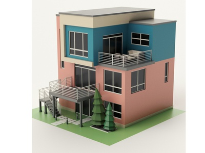 Modern House tree illustration render modern house modern house cartoon exterior shop market building store design environment isometric lowpoly 3d art 3d maya 3dmodel