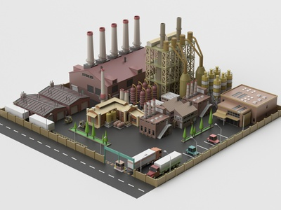 Factory storehouse warehouse industrial factory design environment isometric lowpoly 3d art 3d maya 3dmodel