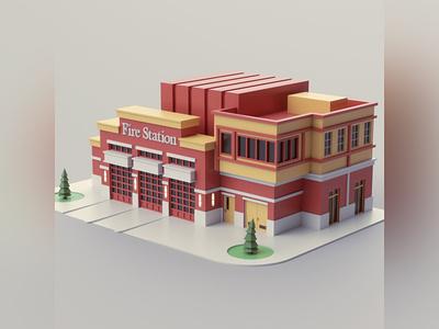 Fire Station fire firehouse fire station illustration