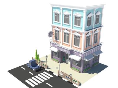 Magic Shop magic magic shop 3dmodelling car cartoon facade design exterior 3d model building store shop market 3d art 3d maya lowpoly isometric environment 3dmodel