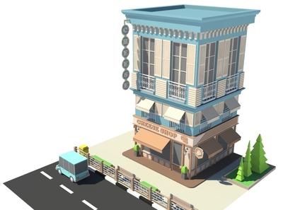 Cheese Shop illustration render cheese car cartoon facade design exterior 3d model building store shop market 3d art 3d maya lowpoly isometric environment 3dmodel