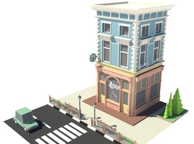 Espresso Bar 3dmodeling cafe car cartoon facade design exterior render building store shop market 3d art 3d maya lowpoly isometric environment 3dmodel