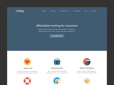 MediaPig web design landing page product page design website hosting flat clean startup admin account section