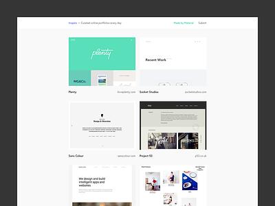 Inspire portfolio showcase inspiration design web design work side project project tumblr inspire material tumblr theme