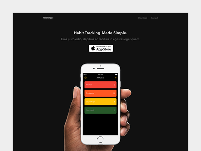 Habit App Landing Page mobile design mobile app ux ui app mobile ios side project landing page web personal project