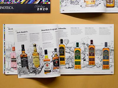 Catálogo Vinoteca 2020 ilustración digitalart wine liqueur photoshop mexico artwork branding design editorial illustration editorial catalog illustration