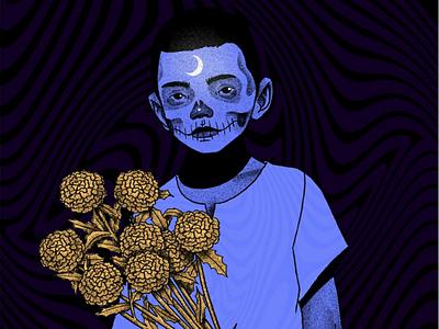 Ofrenda drawing illustrated art skull cempasúchil artwork design dead boy photoshop character illustration