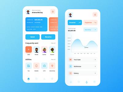 Finance Application - Home Feed and Statistics ui ux design app minimal finance app