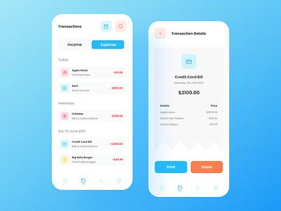 Finance Application - Transaction Details minimal design app finance app ui