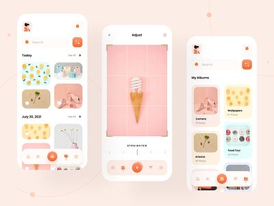 Photo Gallery App - UI Design design app minimal ux ui photo gallery app