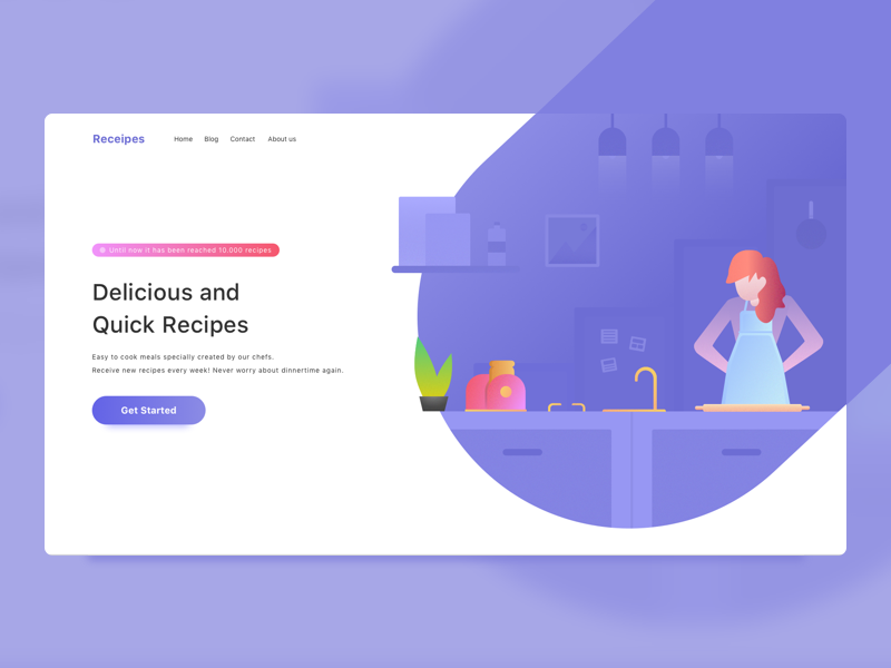 Recipes App Landing Page 👩🏻‍🍳 gradient flat web vector ui illustration kitchen food eat cook chef recipe