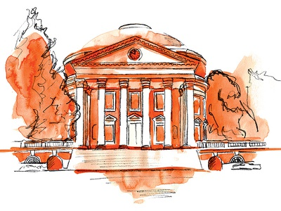 University of Virginia Rotunda pencil watercolor illustration uva charlottesville