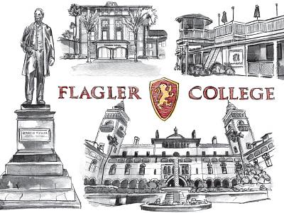 Flagler College illustration pencil watercolor flagler college campus