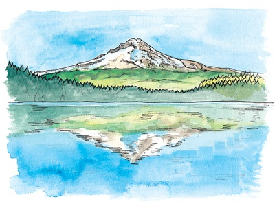 Mount Hood painting ink illustration watercolor landscape mountain cascades or oregon mount hood