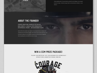 Courage Hockey - Landing Page varsity retro vintage player skates web design hockey courage landing page