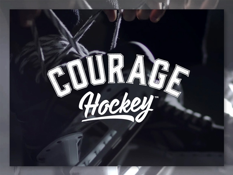 Courage Hockey - Logo varsity retro vintage player skates branding design hockey courage logo
