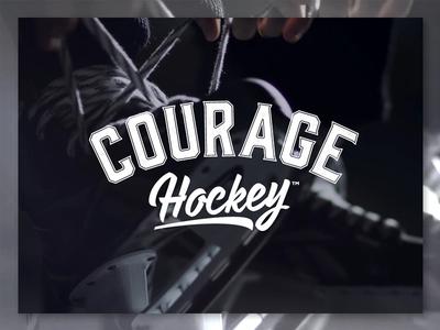 Courage Hockey - Logo varsity retro vintage player skates branding design hockey courage logo