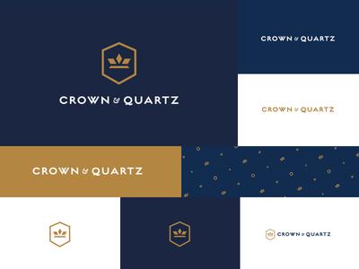 Crown & Quartz - Branding Concepts gold blue pattern quartz crown logo identity branding