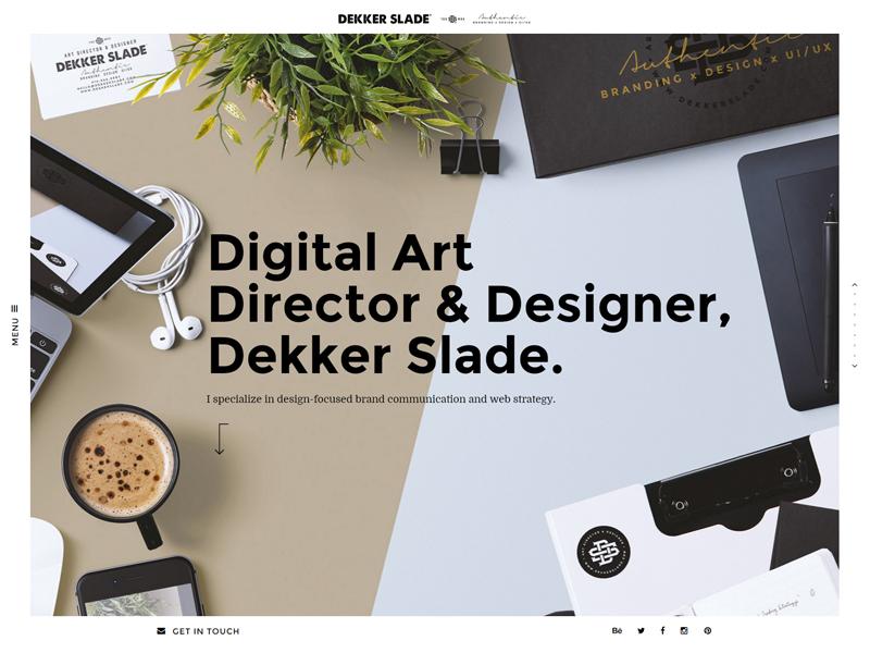 Dekkerslade.com - Hero graphic coffee gold personal website website uiux design monogram logo hero identity branding