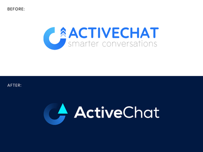ActiveChat – rapid logo brush-up 🚀💬 growth logo improve chatbot growth chat artificial intelligence ai composition muzli vector design startup identity logo branding