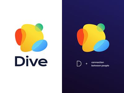 Dive – Where remote teams m̶e̶e̶t̶ bond space dive ocean team building remote playful fun connection socialize ai vector muzli design startup logo identity branding