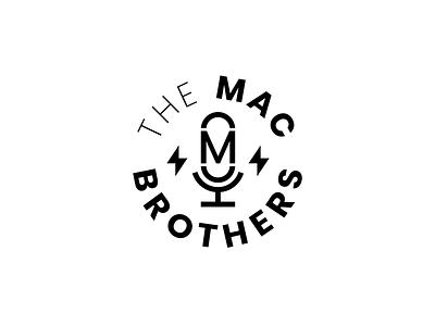 The Mac Brothers Podcast badge circle logo mac microphone mark podcast logo podcast monogram composition vector muzli design startup logo identity branding