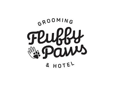 Fluffy Paws 👋🐾 Grooming & Hotel badge horeca cute paw cat dog pets salon hotel grooming fluffy vector muzli design logo identity branding