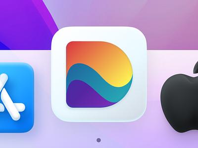 Dive – Where remote teams m̶e̶e̶t̶ bond: Mac OS Dock Icon mac icon dock icon bond socialize meeting vibes beach dive d letter app icon vector muzli startup identity logo branding