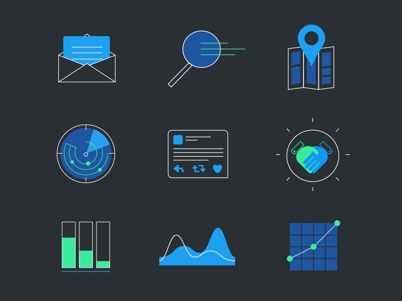 ILLOCONS tech flat line icon illustration