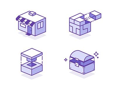ISO twitch illustration icons isometric
