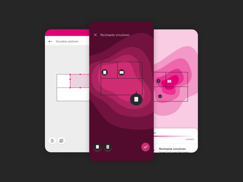 WiFi Signal Strength - Simulation aos ios mobile education gamification heatmap interaction floorplan drawing design network ux ui magenta interface signal simulation app wlan wifi