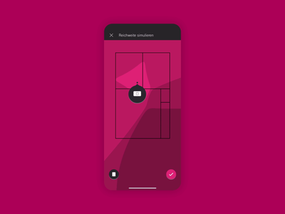 WiFi Coverage Simulation dsl abstract flat design minimal telekom data visualization heatmap signal strength repeater network wlan wifi coverage router simulation floorplan floating action button gripper micro interaction magenta app