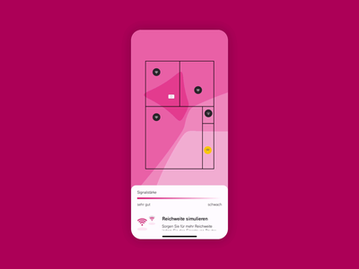 WiFi Coverage wlan signal strength flat uiux action sheet magenta interaction home repeater router coverage floorplan abstract minimal data visualization heatmap wifi telekom network app